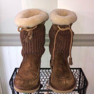 UGG Australia:brown knitted/suede w cream fur trim